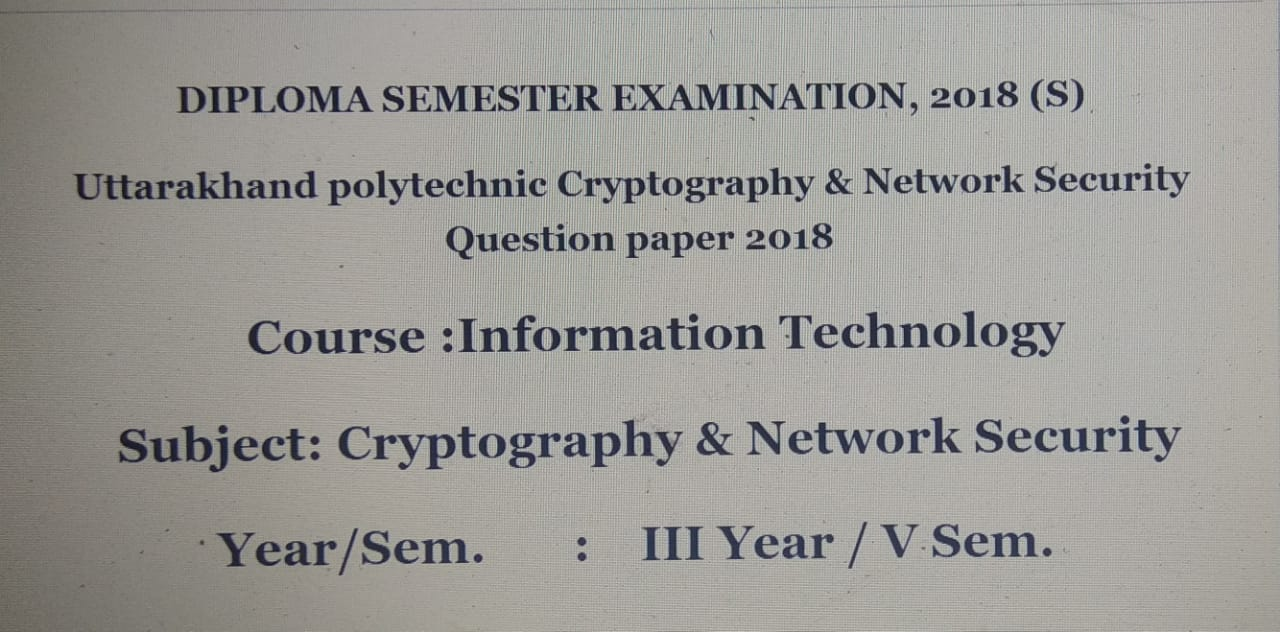 Cryptography & Network Security paper 2018