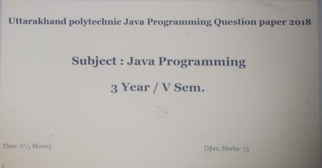 java programming question paper 2018
